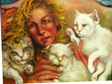 Artist and Three Cats, One Biting, full