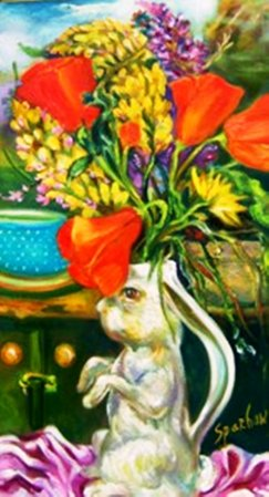 Big Sur Kitchen, Rabbit Vase and Poppies