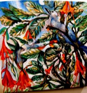 Bluebird, 2 Hummingbirds, Moon in Tangled Tapestry