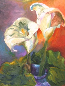 Calla Lilies and Leaf, Interior
