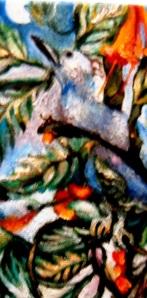 Copy of Bluebird, 2 Hummingbirds, Moon in Tangled Tapestry