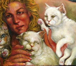 Detail Two, Artist and Three Cats