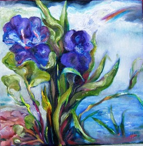 Iris, Nasturtium in Rain