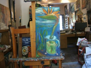 Bird of Paradise Cloud in Coffee Pot  on Easel