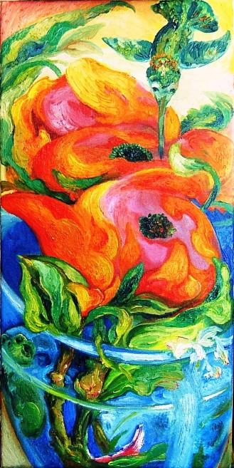 Roses, Hummingbird, Frog, Blue Vase