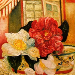 Camelias in Glass Bowl, Full