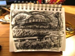 Pen & Ink Robindson Canyon Rd Spring, Sparhawk