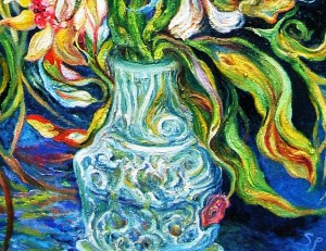Effusive Bouquet, Night, Seashore, 24X30 Vase Detail