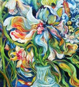 Effusive Bouquet, Night, Seashore, center DETAIL 24x30