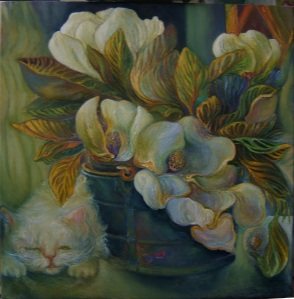 Magnolias, Blue Bucket, Cat Nap 20X20 full