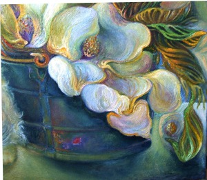 Magnolias, Blue Bucket, Cat Nap DETAIL Flowers